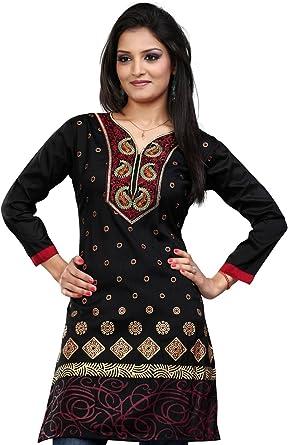 Maple Clothing Túnica larga de la India para mujer, impreso Kurti, blusa con bordado.