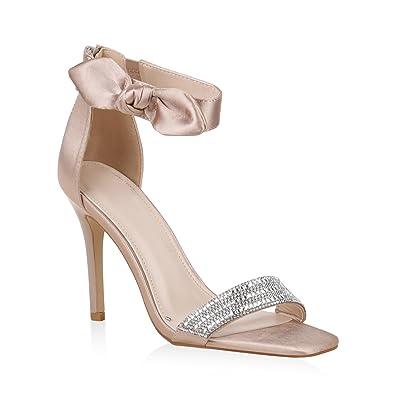 Stiefelparadies Damen Sandaletten High Heels mit Pfennigabsatz Strass Nieten Flandell