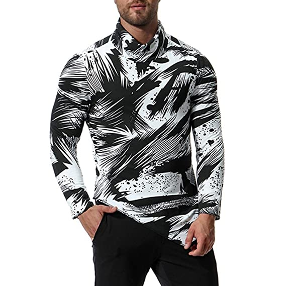 Yvelands Moda Masculina Guapo Personalidad High Collar Oxford Formal Informal Impreso Trajes de Manga Larga Camisetas