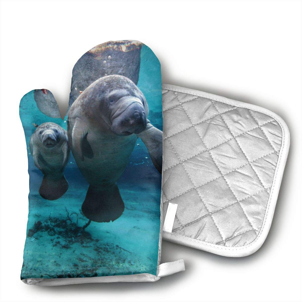 Ocen Life Under Water Sea Animal Manatee Oven Mitts and Pot Holders Kitchen Mitten Cooking Gloves,Cooking, Baking, BBQ.