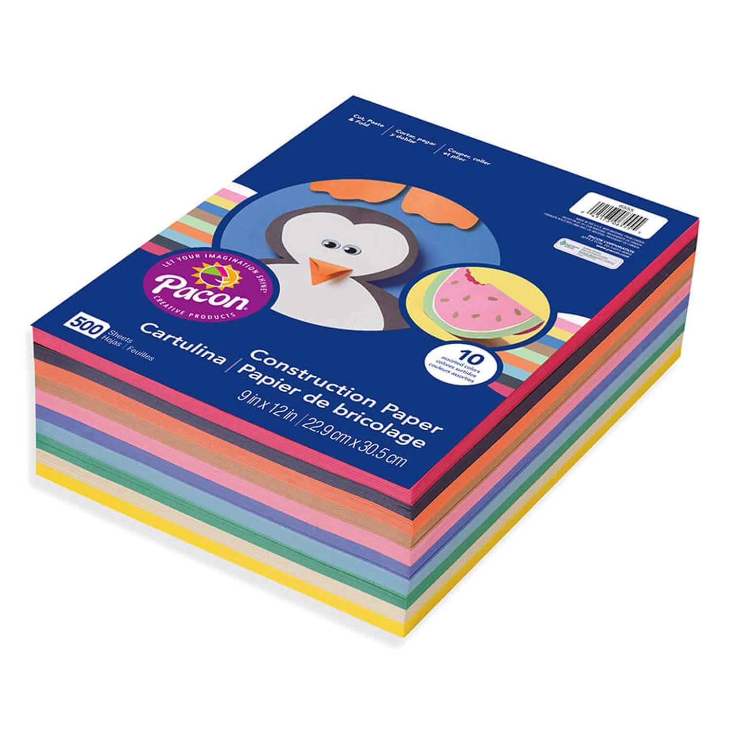 6555 Rainbow Super Value Construction Paper Ream Pacon 2 Pack 500 Sheets Assorted 9 x 12