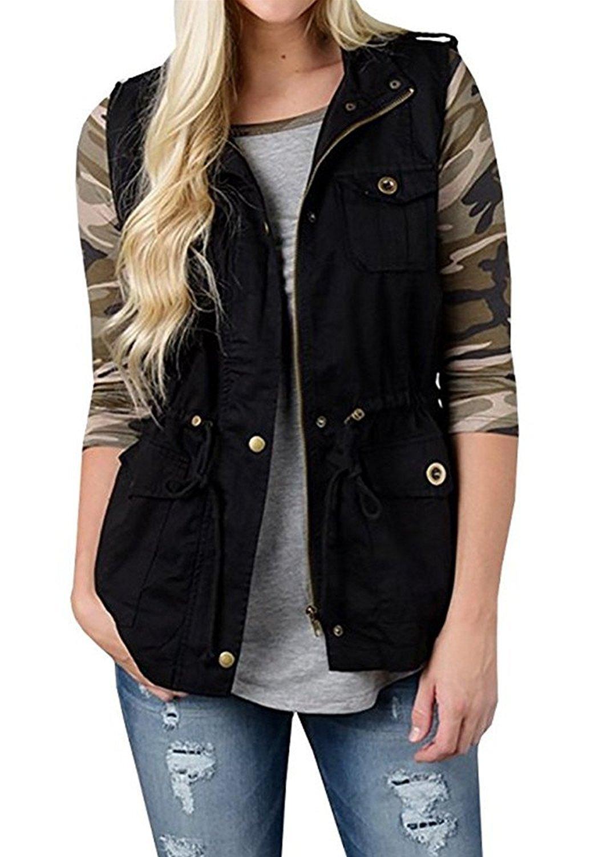 SENSERISE Womens Lightweight Sleeveless Military Anorak Drawstring Jacket Vest(Black,M)