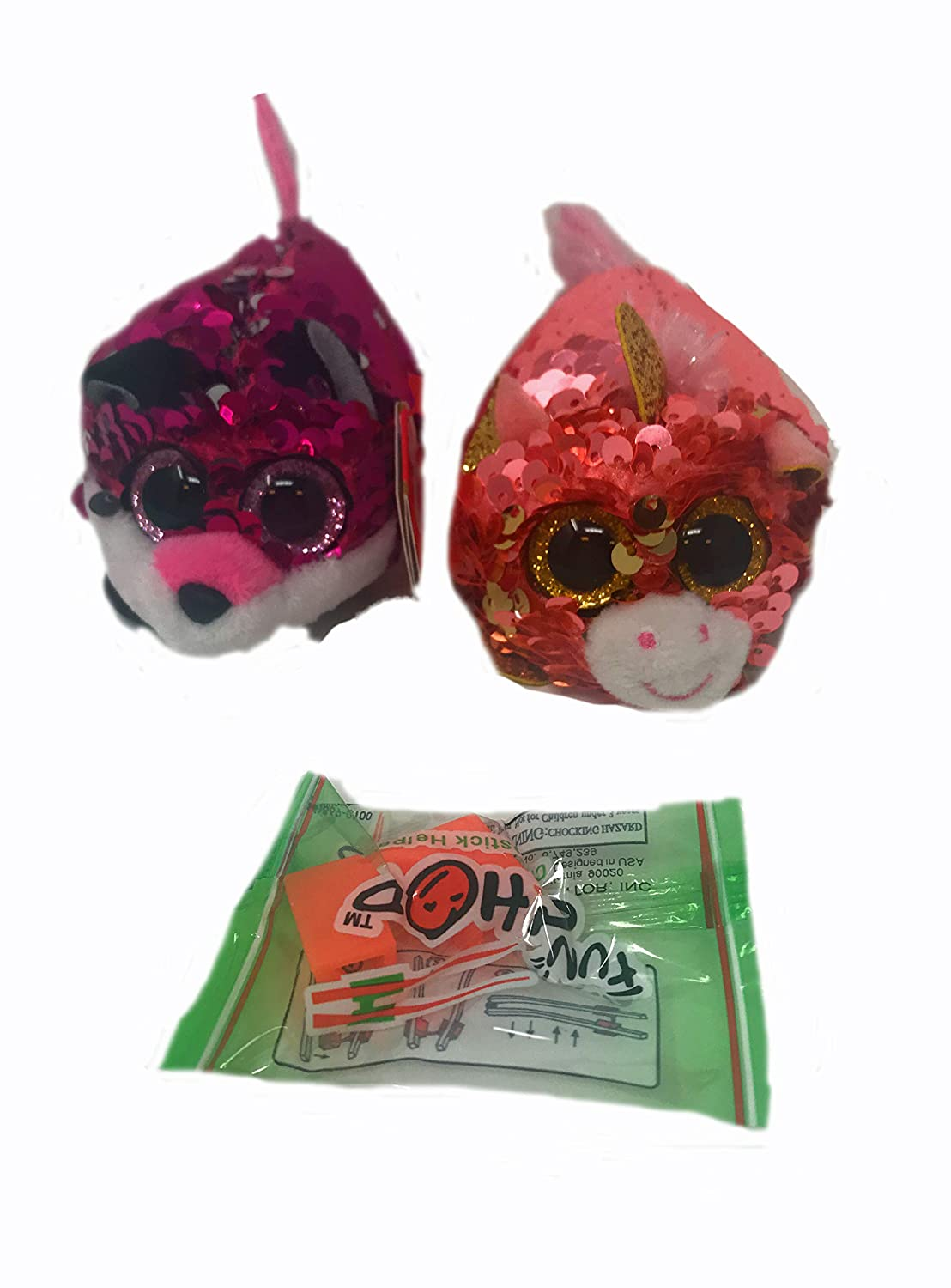 Sunset The Unicorn and a Fun Chop Chopstick Holder TY Sequin Teeny Tys Bundle of 2 Includes Jewel The Fox