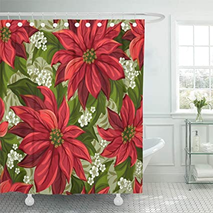 Emvency Decorative Shower Curtain Red Christmas Wonderful With Poinsettia Flower Pointsettia Victorian Pointsetta 72quotx78quot