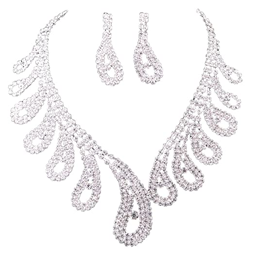 Amazoncom New Wedding Bridal Crystal Rhinestone Necklace Earrings