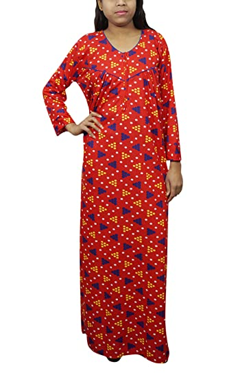 Indiatrendzs Women Sleepwear Nighty Dot Print Woolen Red Long Nightgown  XXL  Amazon.in  Clothing   Accessories 21bf5c44d