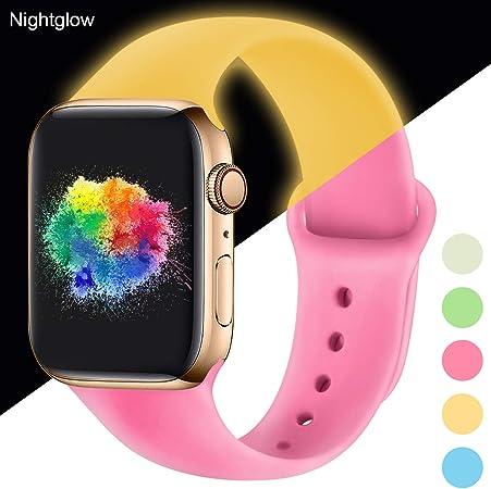 Imagen deYoumaofa Correa Compatible con Apple Watch 38mm 40mm, Correa de Silicona Repuesto Pulsera Deportivas para iWatch Series 5 Series 4 Series 3 Series 2 Series 1, 38mm/40mm S/M Nightglow Pink