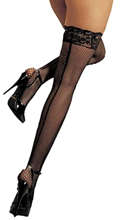 3c65fadda Amazon.com  Lacy Line Plus Size Sexy Fishnet Thigh High Stockings With Lace  Top And Backseam  Clothing