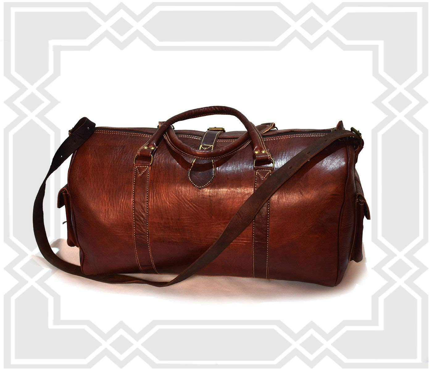 Medium Moroccan Leather Travel Bag Rustic Dark Brown Leather Weekender Bag Brown Cowhide Leather Duffel