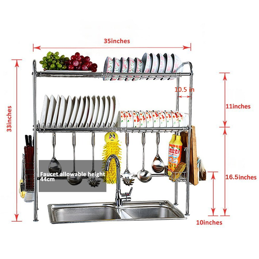 2 Tier Dish Drying Rack Over Sink Kitchen Clutery Holder
