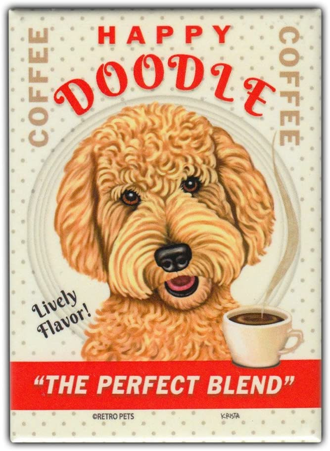 "Retro Pets Refrigerator Magnet - Happy Doodle Coffee, Goldendoodle (Golden Retriever, Poodle) - Vintage Advertising Art - 2.5"" x 3.5"""