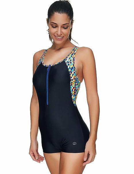 8cdc3bc19d9 Zexxxy Women Patchwork Racerback Sports One-Piece Swimwear Swimsuit