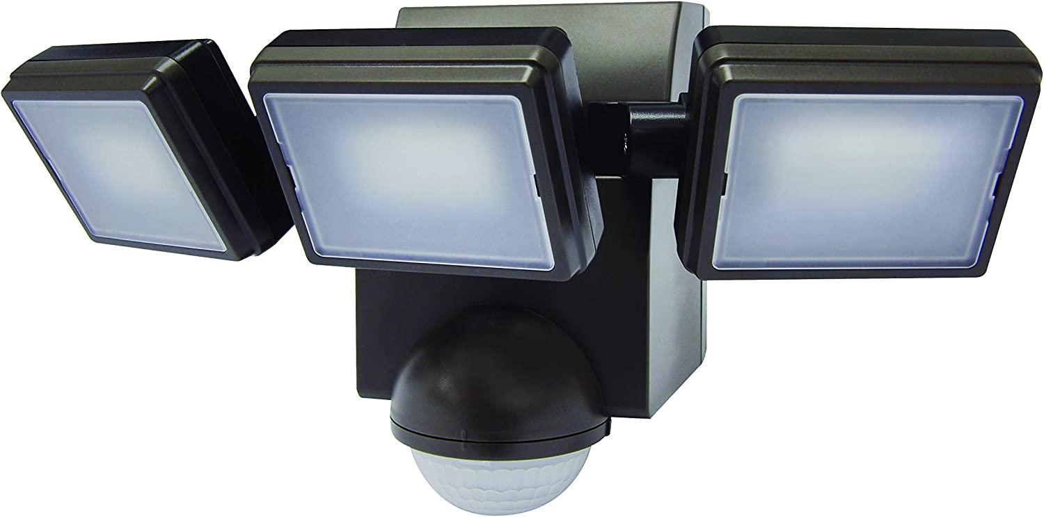 LB1895BZ 1000 Lumen Battery Powered Ultra Bright Wireless LED Motion Security/Motion Sensor/Motion Activated Flood Light, Three Heads for Maximum Adjustment (Bronze)