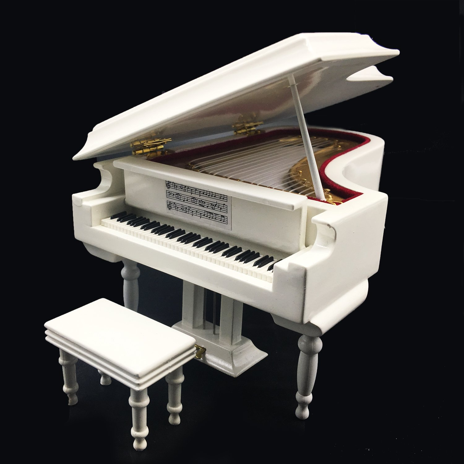 Mylifestyle White Piano Music Box with Bench and Black Case Musical Boxes Gift for Christmas/Birthday/Valentine's Day, Melody Castle in The Sky