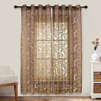 Top Finel Transparente Geometrische Muster Gardinen Wohnzimmer Sheer Dekor  Vorhänge Mit Ösen,1 Stück,