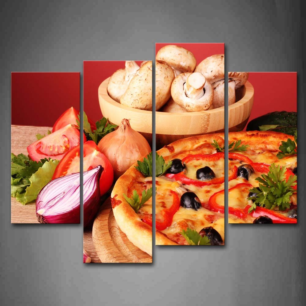 Amazon com first wall art pizza with vegetable and mushroom wall