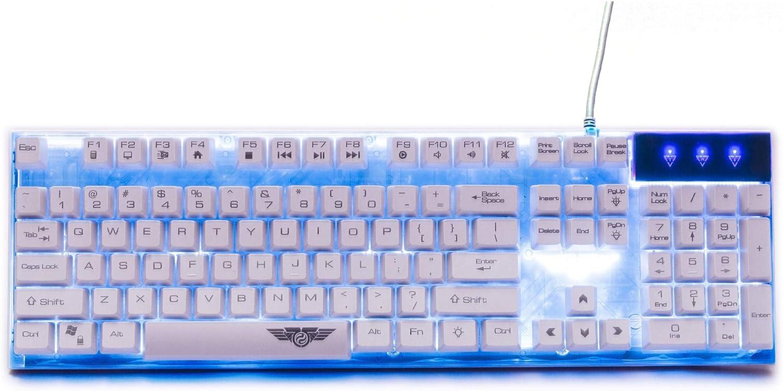 XIAZI Mechanical Feel Keyboard Backlight Eat Chicken Game Wired Internet Cafes Desktop Home Men and Women,White