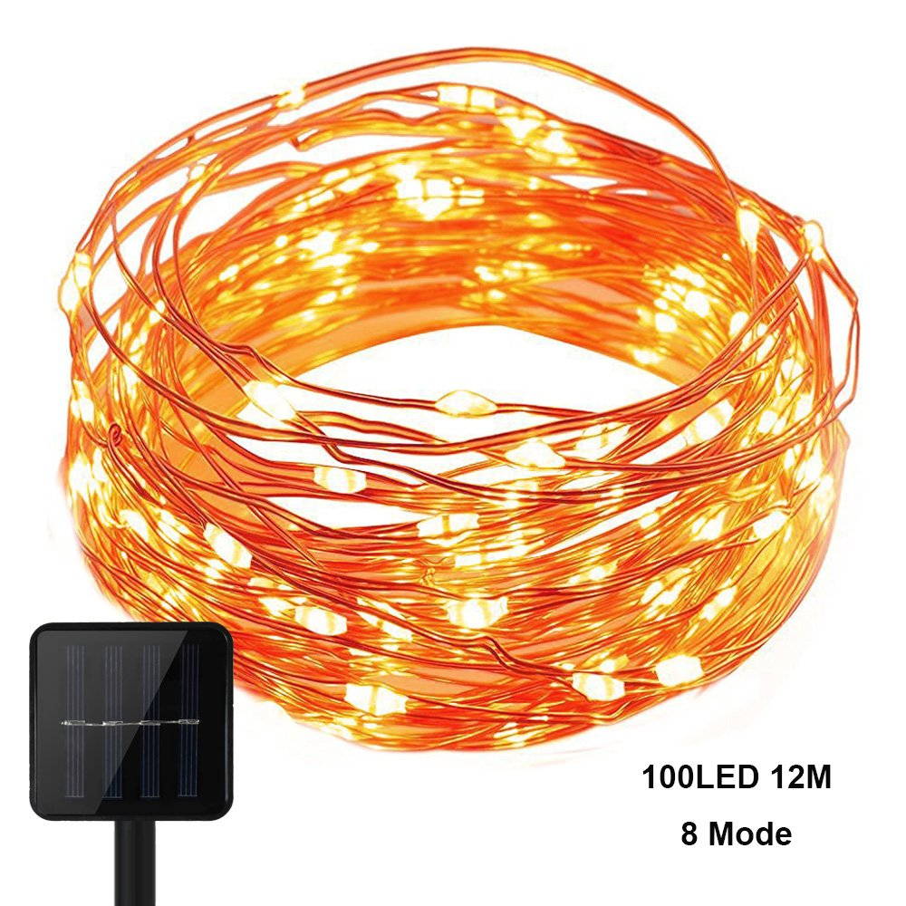 KEEDA Copper Wire Lights, (100LED, 8 Mode, 39.37ft/12m) Waterproof Solar Fairy Starry String Lights, Solar Christmas Lights, Garden Outdoor Light, Outdoor Solar Ambiance Lighting for Christmas Tree Decoration -(Multi) TX-100-8-M