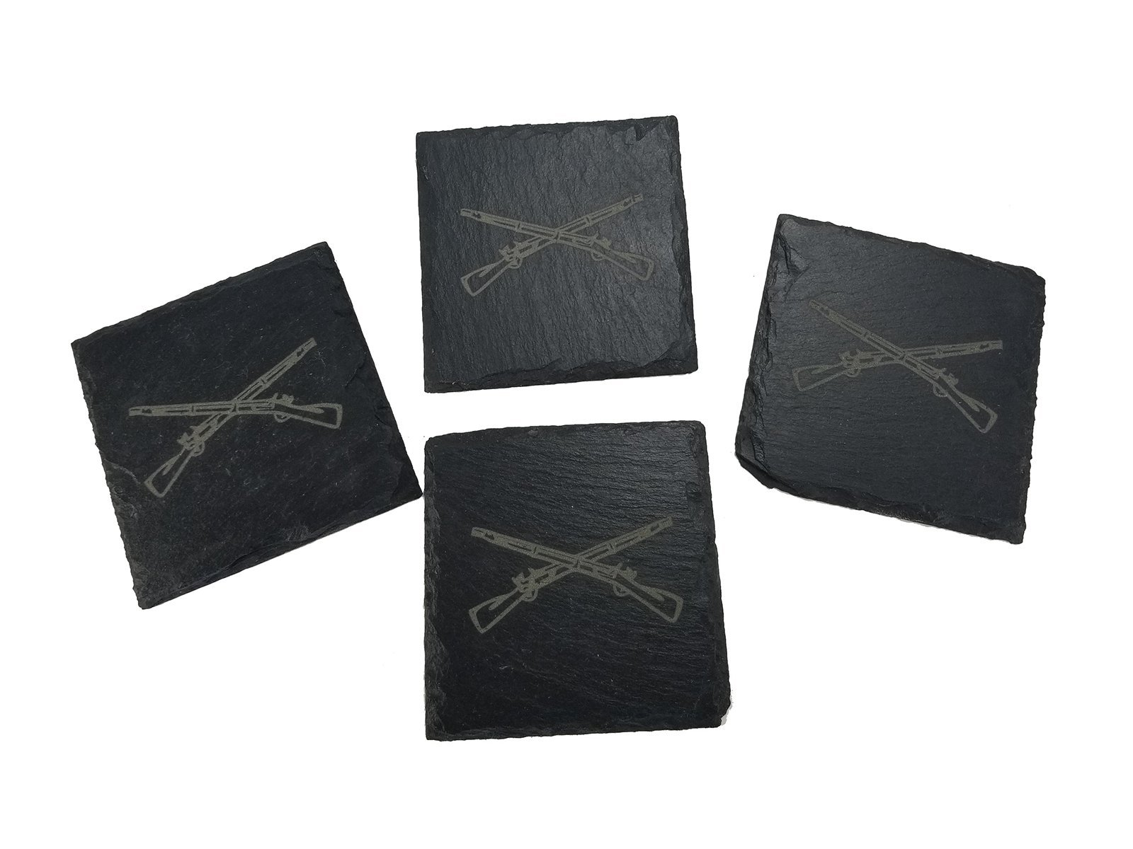 Army Infantry Crossed Rifles Coaster Set - Infantry Veteran