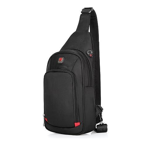 2ef1071e93 Sling Bag Crossbody Bag Chest Pack for Men Women Zipper Water Resistant  Nylon (Black Small