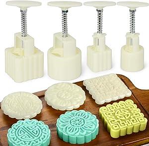 FANGSUN 20 Pieces Bath Bomb Mold Kit, Moon Cake Mold Kit Includes 4 Pieces Bath Bombs Press with 16 Pieces Stamps for Making DIY Bath Bombs Tools