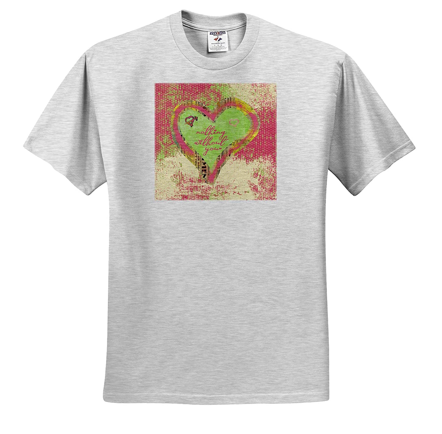 Aged Look Paper Nothing Without You Colorful Heart of Newspaper Look 3dRose Beverly Turner Valentine Design T-Shirts