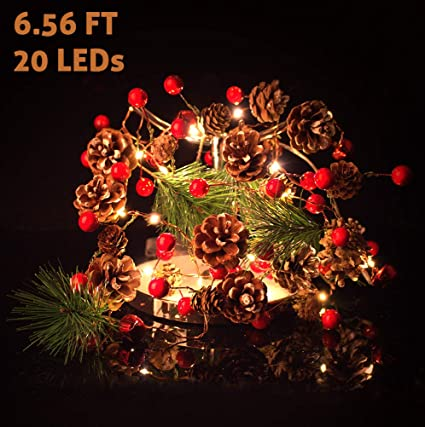 Amazon.com: Guirnalda de luces de Navidad a pilas con luces ...
