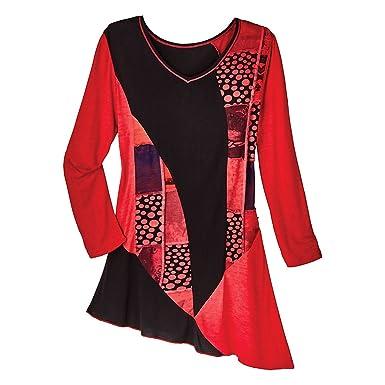 9092d3c9e66 Women's Tunic Top - Scarlet Red Dots 'N Flowers Diagonal Hem Shirt - Large