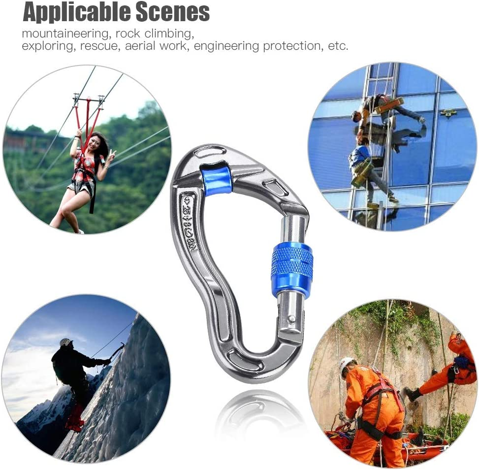 Delaman Carabiner 25KN Ultra Sturdy Locking Carabiner Clips Color : Yellow Outdoor and Gym Screw Locking Hook Rescue Equipment for Rock Climbing Hiking