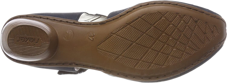 Rieker Damen Riemchensandale 43789,Frauen Sandale,Riemchen-Sandalette,Sommerschuh,Sommersandale,bequem,Trichterabsatz 4cm