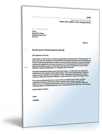 Anschreiben Bewerbung Call Center Agent Word Dokument Download