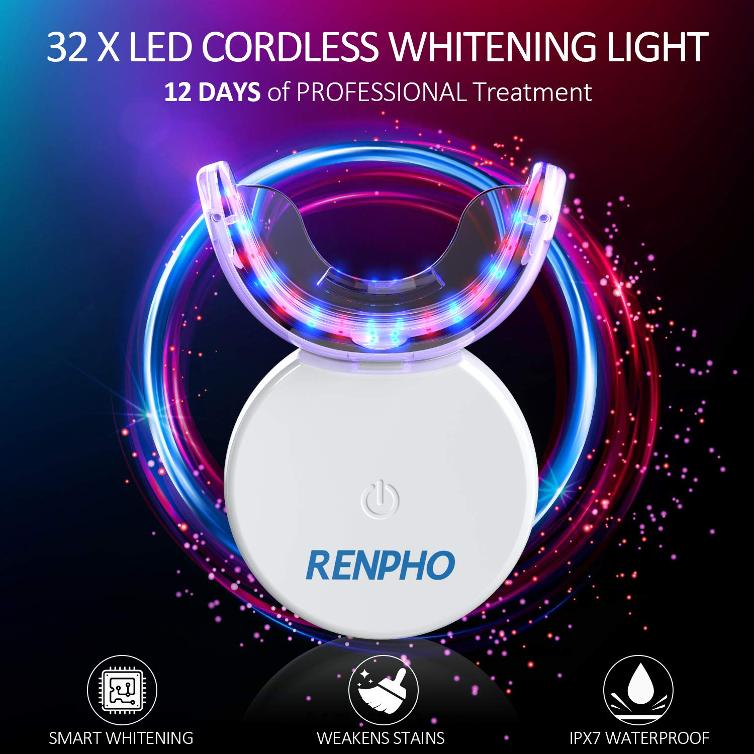 Teeth Whitening Kit with Led Light, RENPHO 32LED Accelerator Light Teeth Whitening Kit for Sensitive Teeth Whitener, 3X4ml Non-Sensitive Gels, 35% Carbamide Peroxide, Mouth Tray, Built-in Battery: Beauty