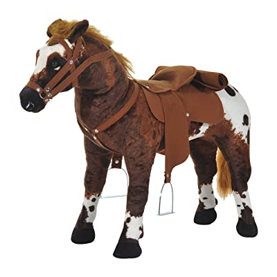 Qaba Children's Plush Interactive Standing Ride-On Horse Toy with Sound -Dark Brown/White: Toys & Games