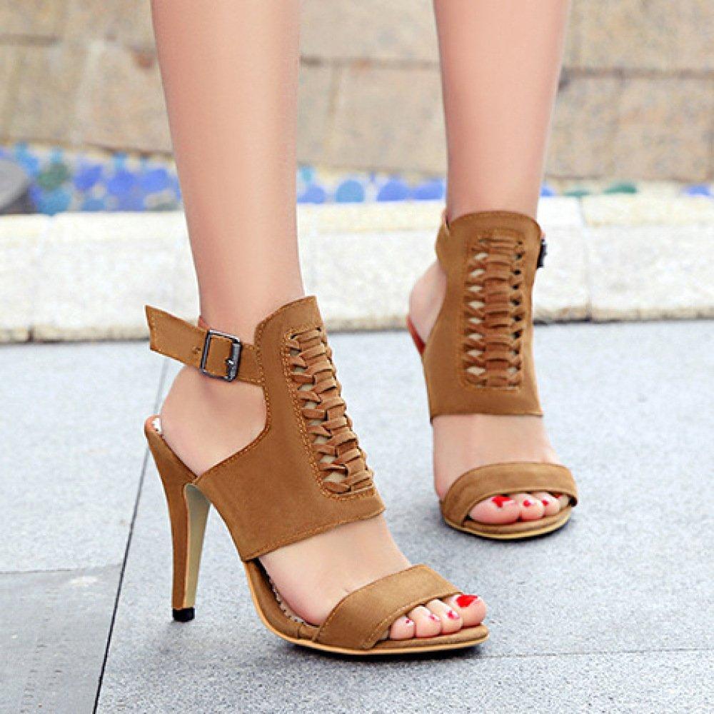 ALBOC Damen High Sandale Heel Knöchelriemen Slingback Sandale High Peep Toe Hochzeit Schuhe Pumpen Yellow 574555