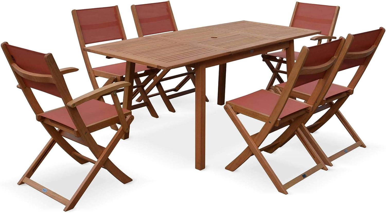 Salon de Jardin en Bois Extensible - Almeria - Table 120 ...