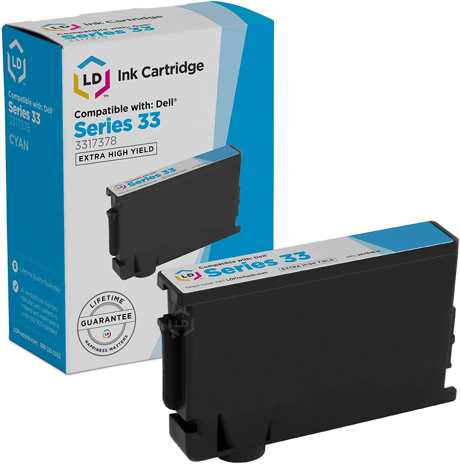 LD Compatible Ink Cartridge Replacement for Dell 331-7378 8DNKH Extra High Yield (Cyan)