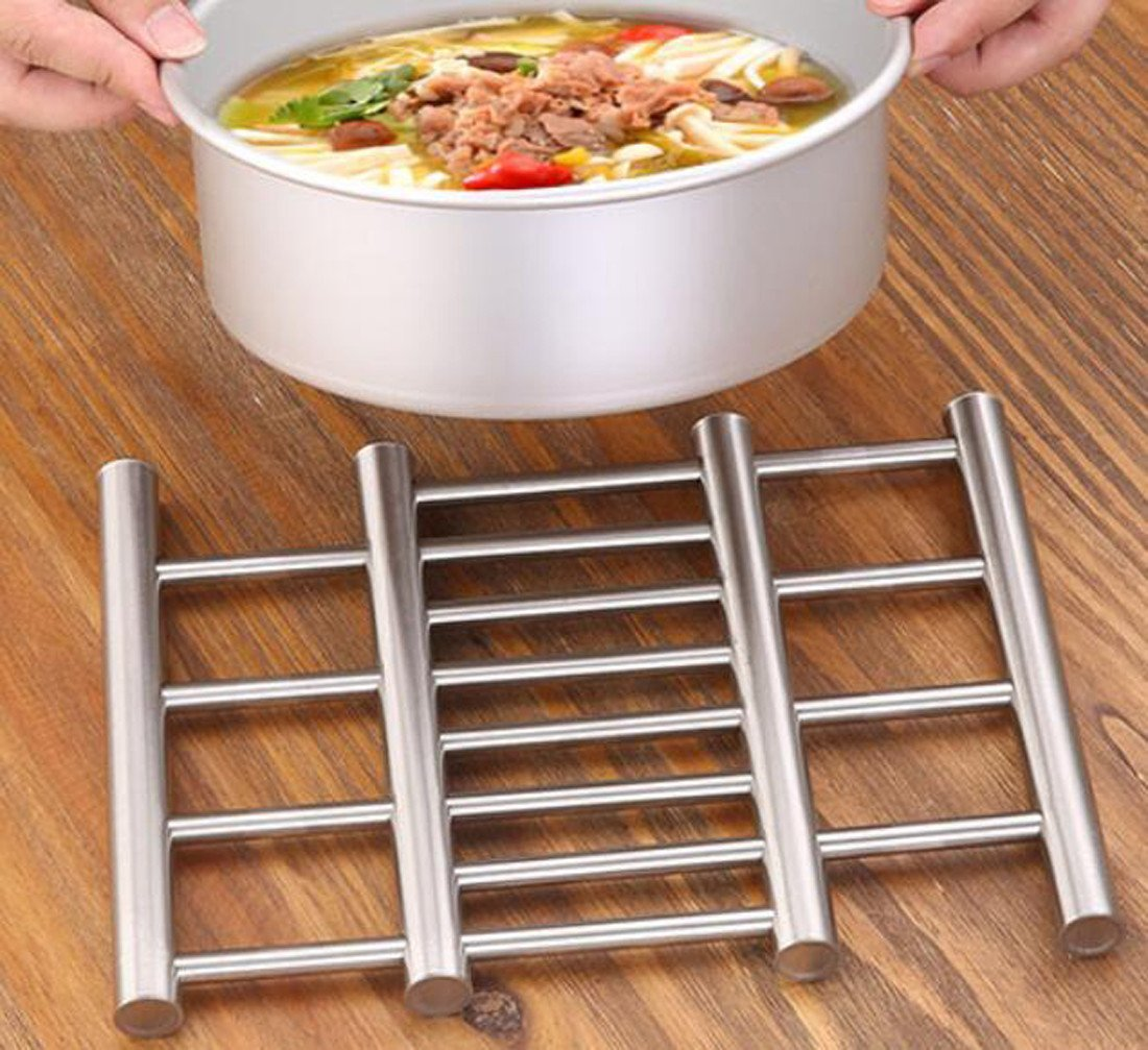 MDRW-Creative Kitchen, Stainless Steel Wire Drawing, Heat Insulation Mat, Meal Pad, Pan Pad