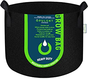 OPULENT SYSTEMS 2-Pack 45 Gallon Grow Bags Heavy Duty Aeration Fabric Growing Pots Thickened Nonwoven Fabric Containers for Nursery Garden and Planting Grow (Black)