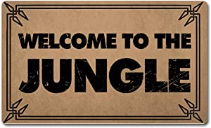 """FXGZHAO Welcome Mat with Rubber Back 30""""(L) x 18""""(W) Welcome to The Jungle Funny Doormat for Entrance Way Personalized Mats for Front Door Mat No Slip Kitchen Rugs and Mats"""