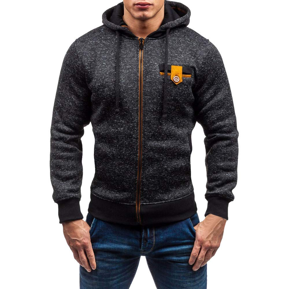 PASATO Mens Autumn Winter New Casual Zipper Long Sleeve Pullover Sweatshirt Hoodie Coat Top Clothes Pure Color Polo(Black, L)