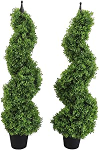 Armada Boxwood Topiary Trees Faux Spiral Artificial Feaux Plants Green Fakes Toparies Tree Indoor Outdoor Decor Plant with Plastic Pot Set of 2 (35 Inch)