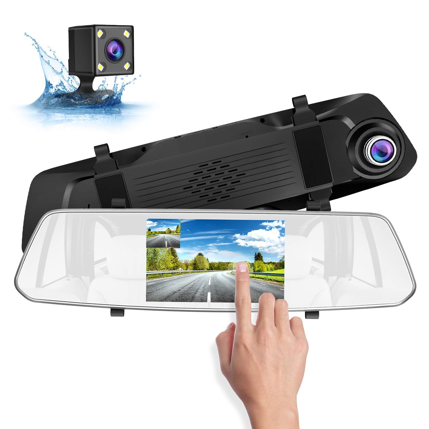 SUAOKI 1080p Full-HD Car DVR With HD Rear-View Camera for Parking Assistance Comes With Crisp 5-Inch Touch Screen Display Supports G-Sensor, Loop Recording, 128GB Storage Room(SD Card Not Included)