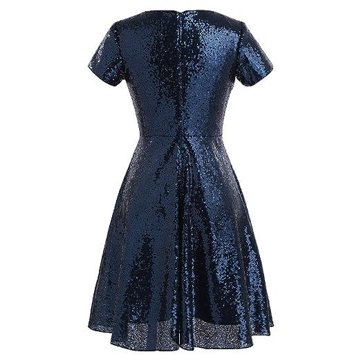 MSemis Vestido de Fiesta Cóctel Brillante para Mujer Vestido Lentejuelas Verano Traje Gala Boda Vintage de Moda Fiesta
