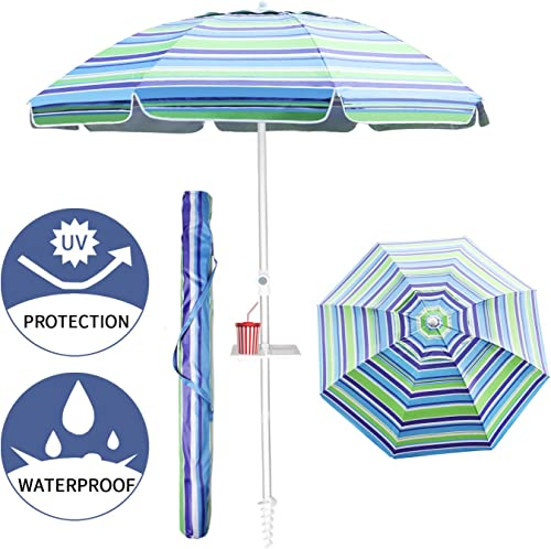 Aclumsy 7ft Beach Umbrella with Tilt Aluminum Pole and UPF 50 , Air Vents Design and Portable Sun Shelter for Sand and Outdoor Activities – Blue Green White Stripe