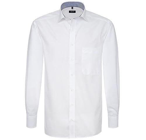 ETERNA Herren Langarm Hemd Comfort Fit Uni Popeline weiß mit Patch 1114.00.E147 (41)