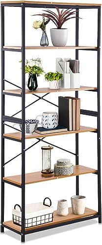5 Tiers Bookshelf Industrial Bookcase Free Standing Shelf Storage Organizer Units Vintage Rack - a good cheap modern bookcase