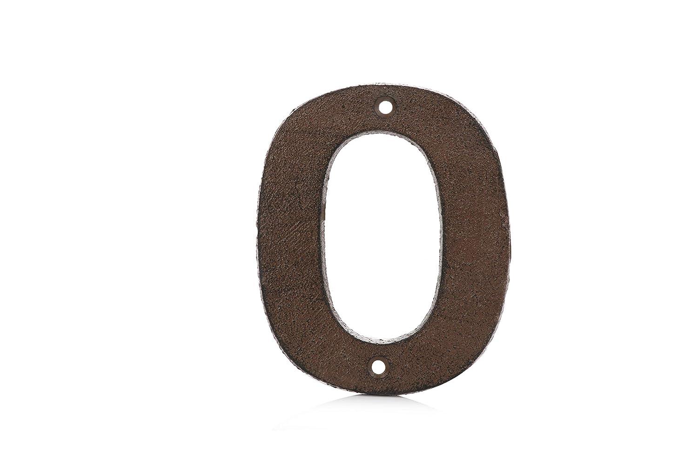 Números de puerta grandes de hierro fundido vintage de 0 a 9 – marrón óxido acabado envejecido para un aspecto rústico auténtico Pristine