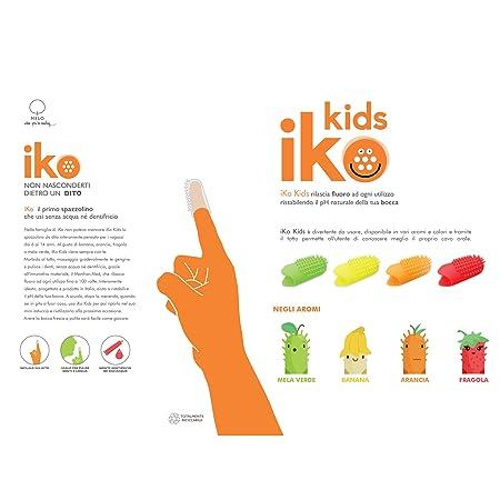 Iko Kids, kit 2pz cepillo de dientes de dedo para niños, cepillo de dientes sin necesidad de agua y pasta de dientes,libera flúor, higiénico hasta 100 usos ...