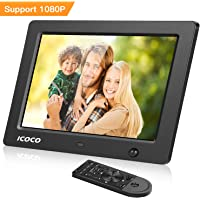 ICOCO 8 Inch Digital Photo Frame - 1024 * 768 (1080P) LED Screen, MP3/Music/Video Player with Calendar/Clock Function, with Remote Control for SD/USB - Black