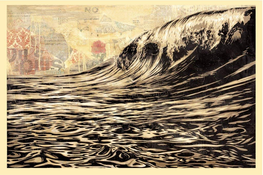 Shepard Fairey (Obey) – Lithographie dédicacée Dark Wave – Original – Imprimé